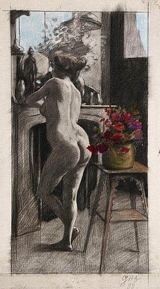 Леопольд Ґоттліб. Ню біля каміну, 1898; папір, пастель