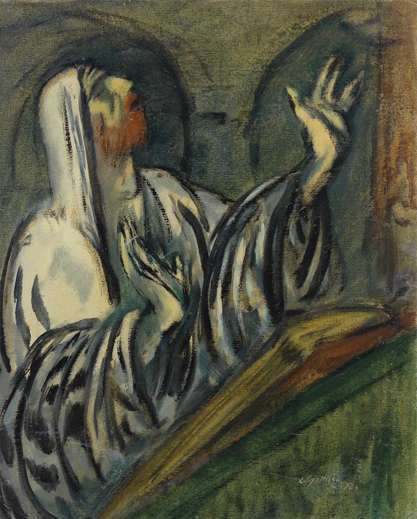 Леопольд Ґоттліб. Сцена в синагозі, 1923; картон, акварель