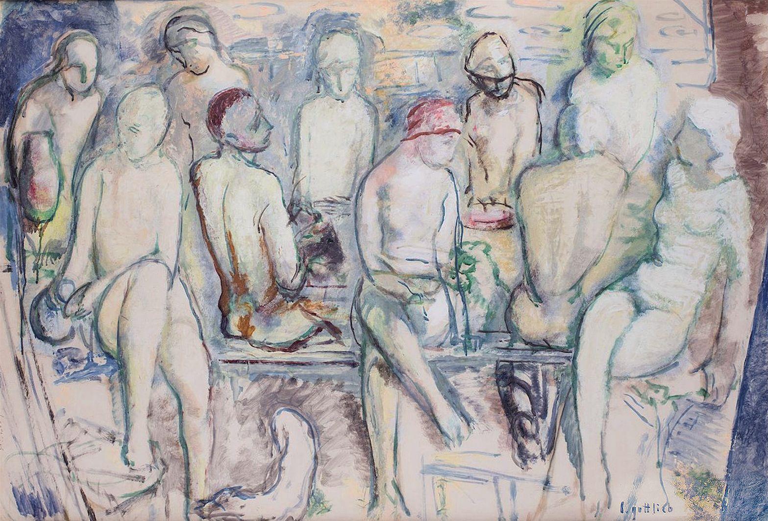 Леопольд Ґоттліб. В бані, 1930; картон, олія