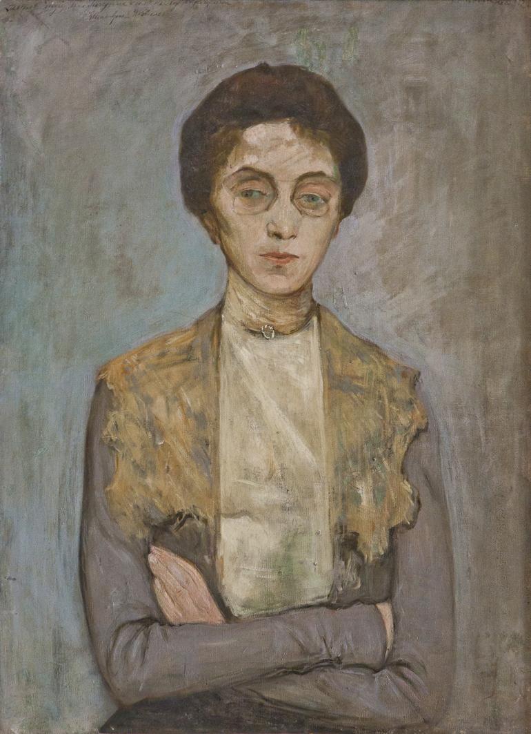 Леопольд Ґоттліб. Жінка в сірій кофті, 1902; олія, полотно; ЛНГМ