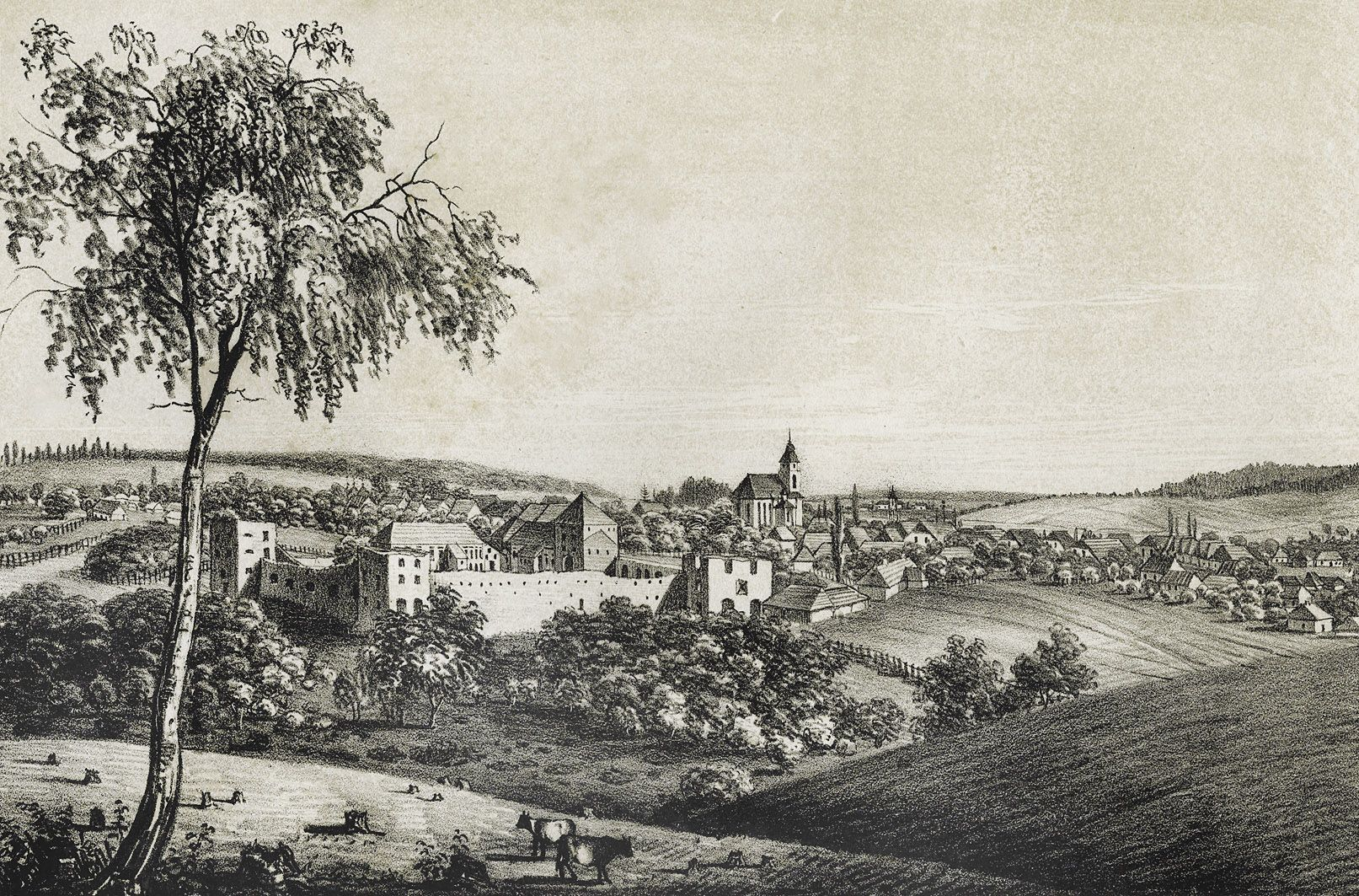 Мацей Боґуш Зиґмунт Стенчинський. Замок у Золотому Потоці, 1848; літографія