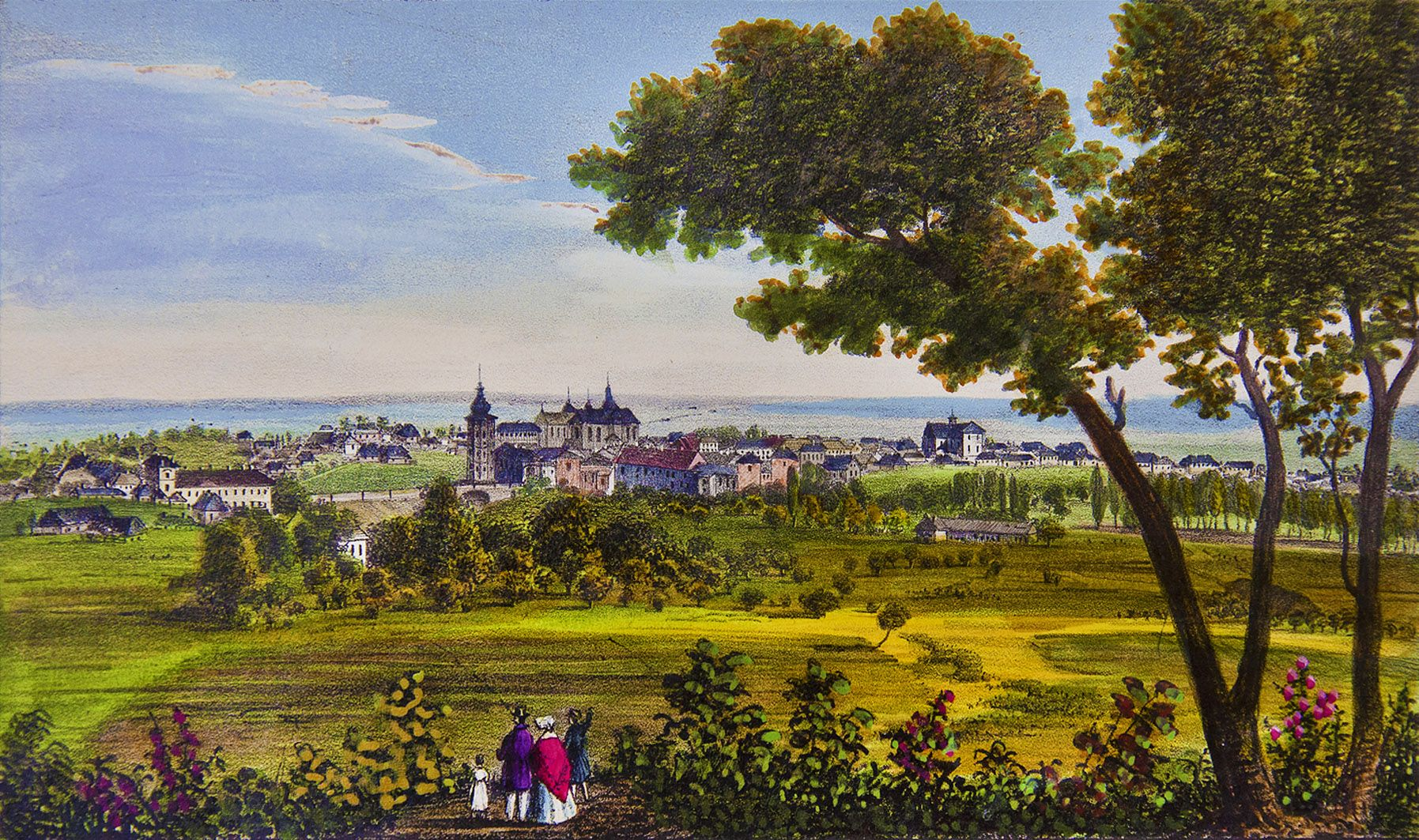 Мацей Боґуш Зиґмунт Стенчинський. Жовква з гори Гай, 1847; літографія