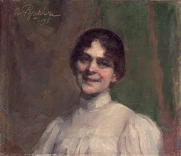 Анєля Пайонкувна. Портрет дами в білій сукні (ймовірно автопортрет), 1896; олія, полотно