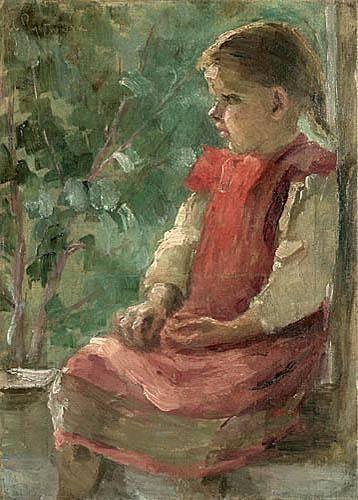 Анєля Пайонкувна. Світловолоса дівчинка в рожевому фартушку, 1908; олія, полотно