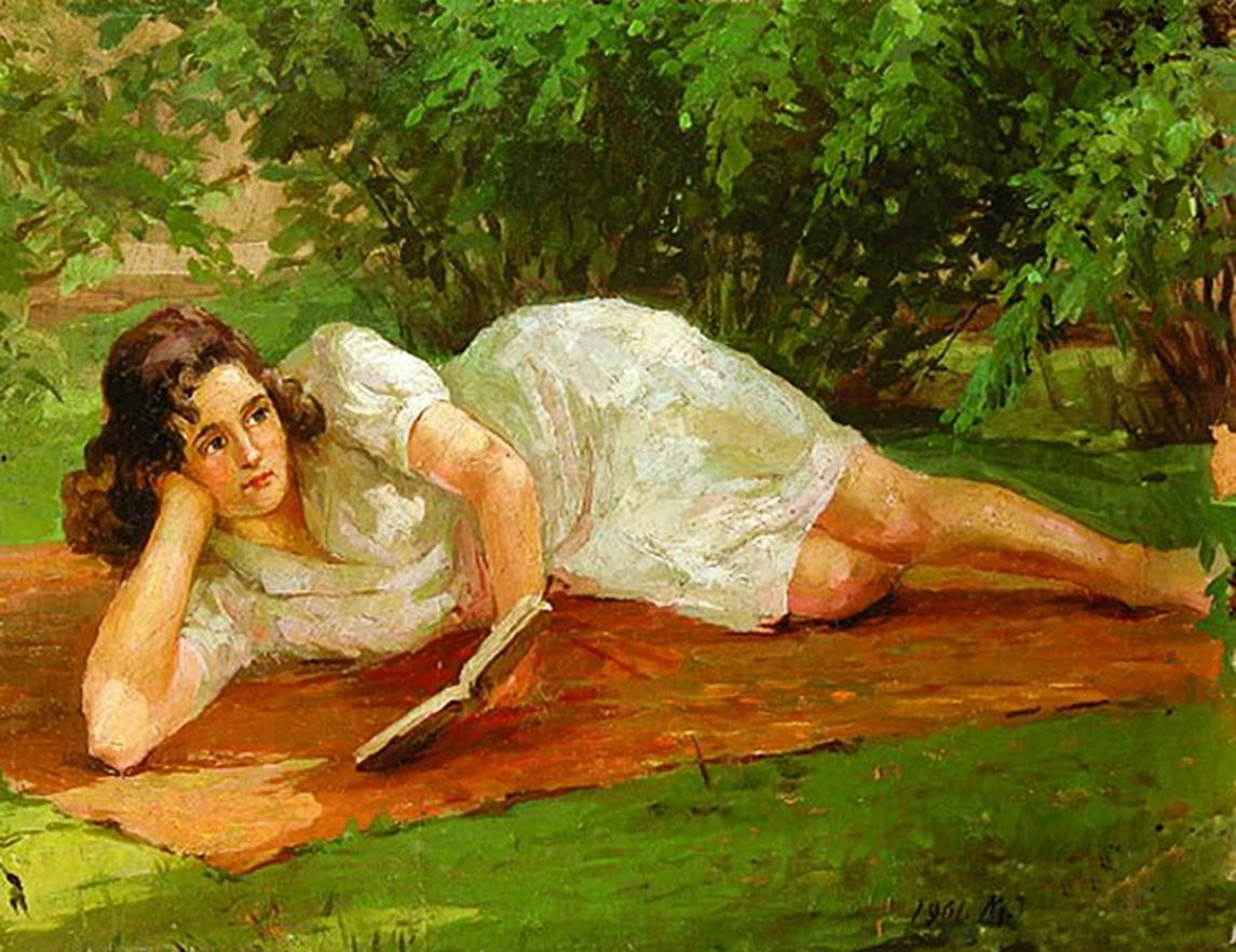 Марія Водзіцька. Дівчина на траві, 1961; олія, картон