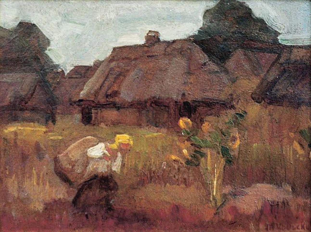 Марія Водзіцька. Сільський пейзаж; олія, картон