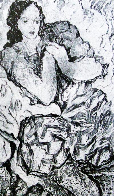 Софія Зарицька. Жіночий портрет, 1950-ті; монотипія