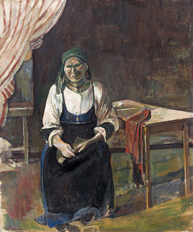 Жозеф Прессман. Італійка за в'язанням, 1942; олія, полотно