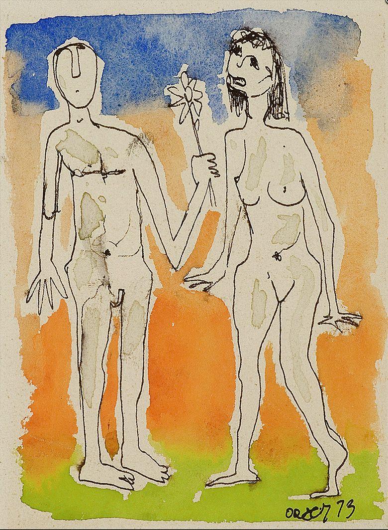 Отто Аксер. Адам і Єва, 1973, папір, туш, акварель