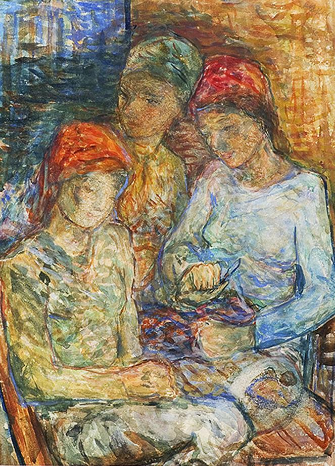 Отто Аксер. Три дівчини в хустках, 1940-ві; картон, акварель