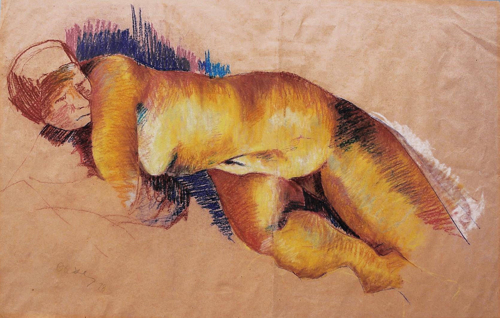 Отто Аксер. Ню, 1978, папір, пастель