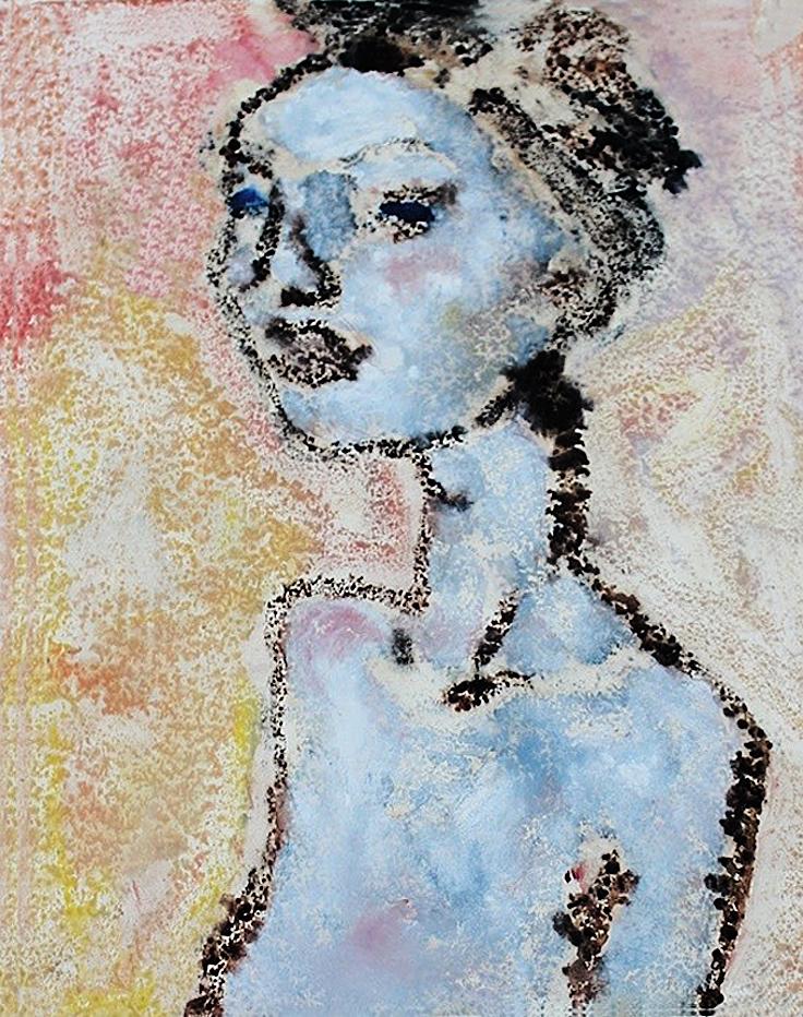 Отто Аксер. Портрет в голубому, 1960, папір, акварель