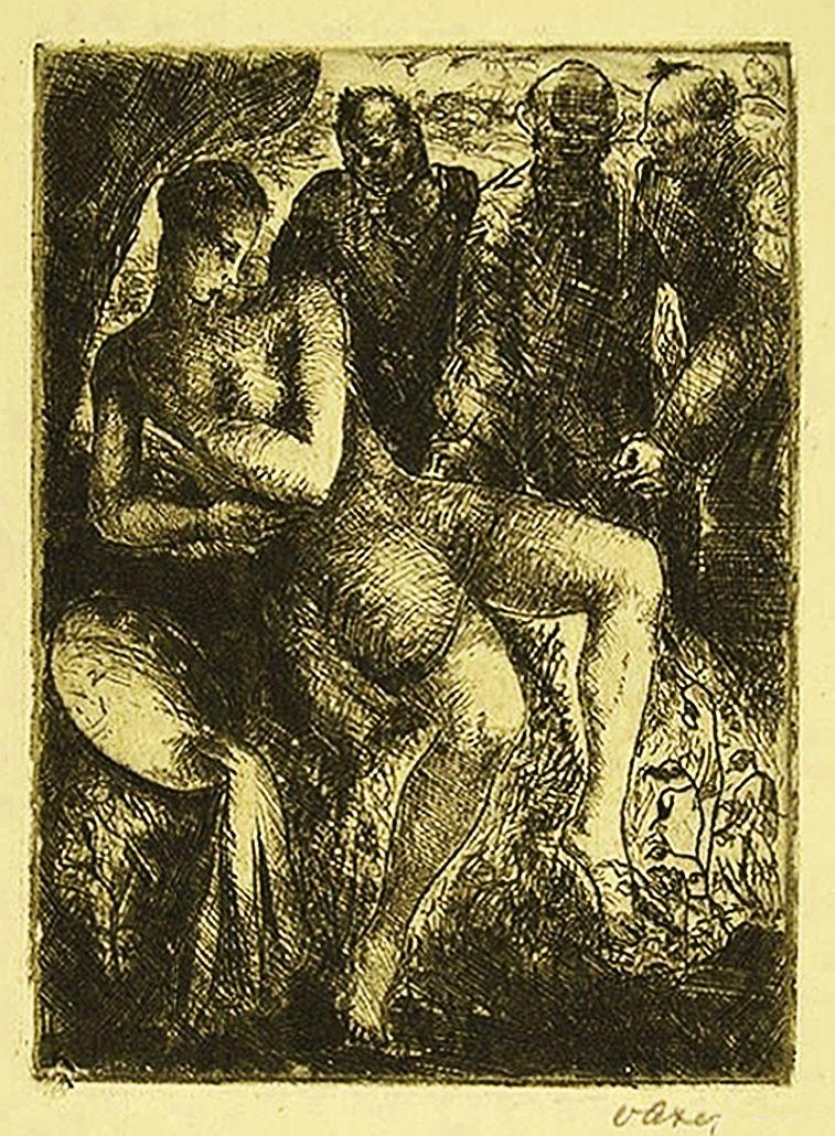 Отто Аксер. Сусанна та старці, 1929, офорт