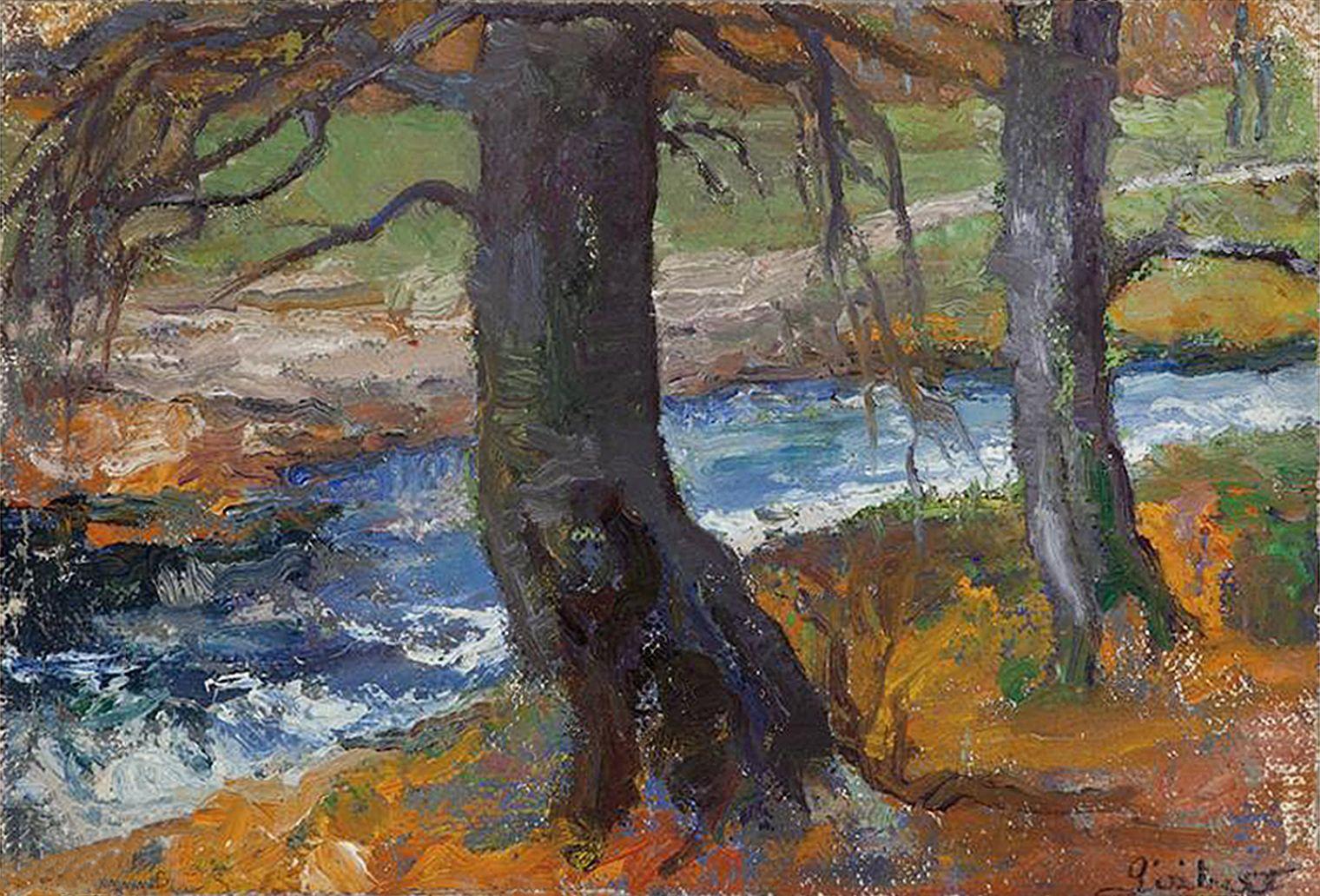 Марія Гіжберт-Студницька. Пейзаж зі струмком, 1910-20; олія, полотно, NMK