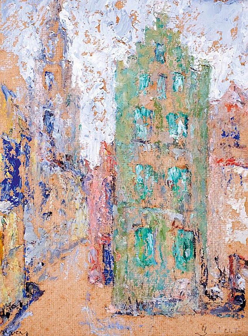 Марія Гіжберт-Студницька. Зелений буденок в Антверпені; картон, олія