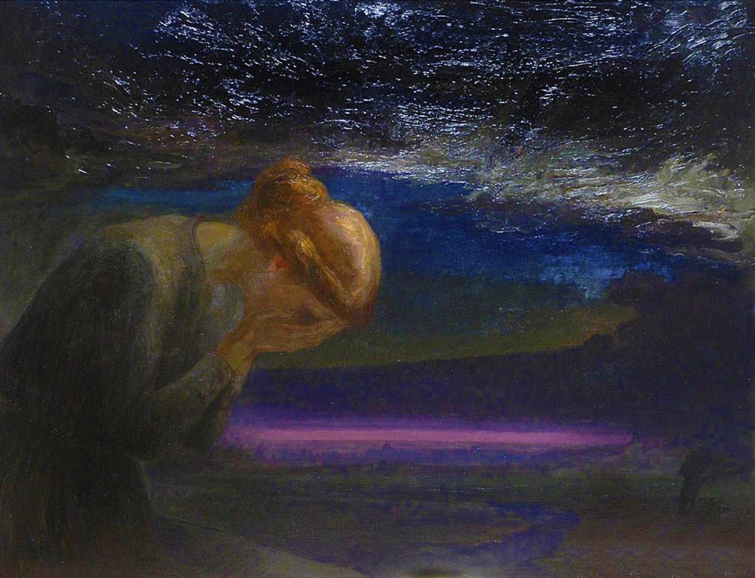 Марія Гіжберт-Студницька. Журба 1901; картон, олія