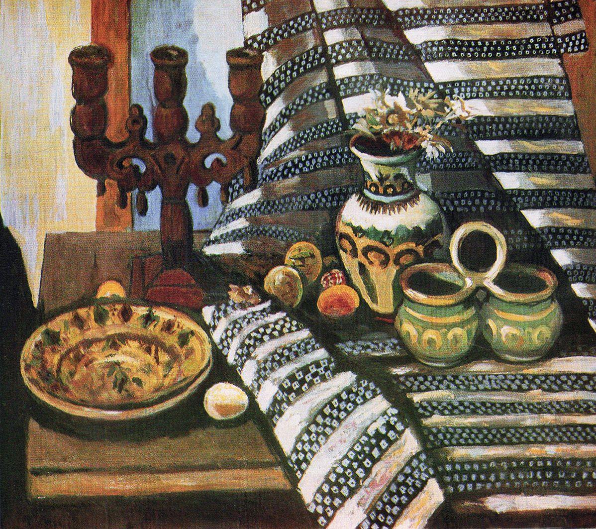Михайло Ткаченко. Гуцульський натюрморт, 1973; картон, олія