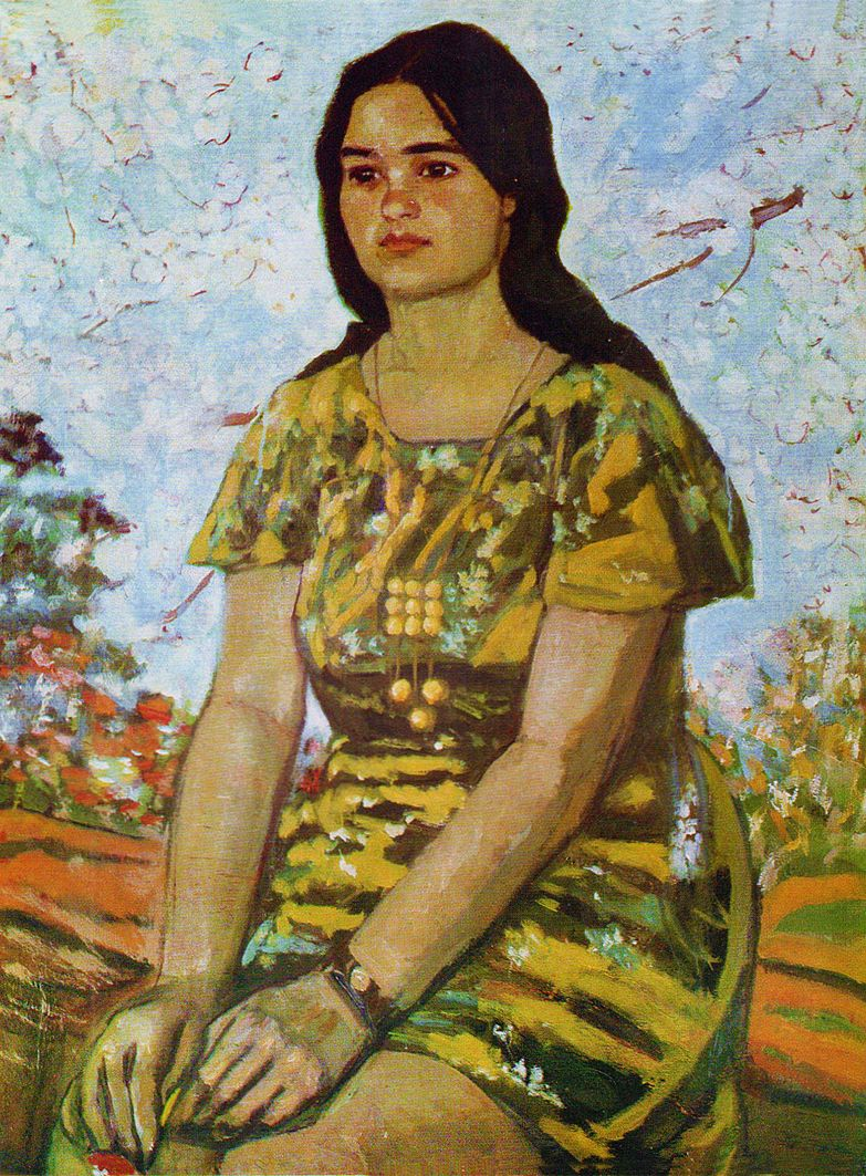 Михайло Ткаченко. Портрет дівчини, 1973; картон, олія