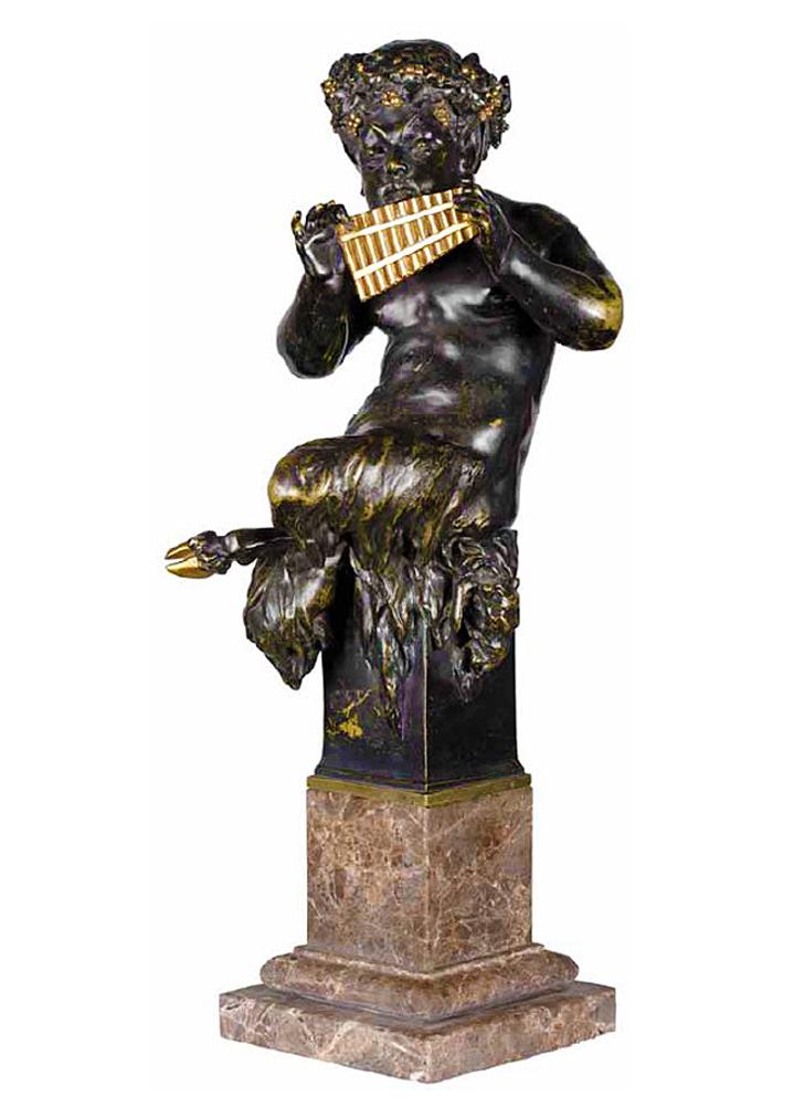 Ципріан Годебський. Фавн грає на флейті; бронза,  h-45