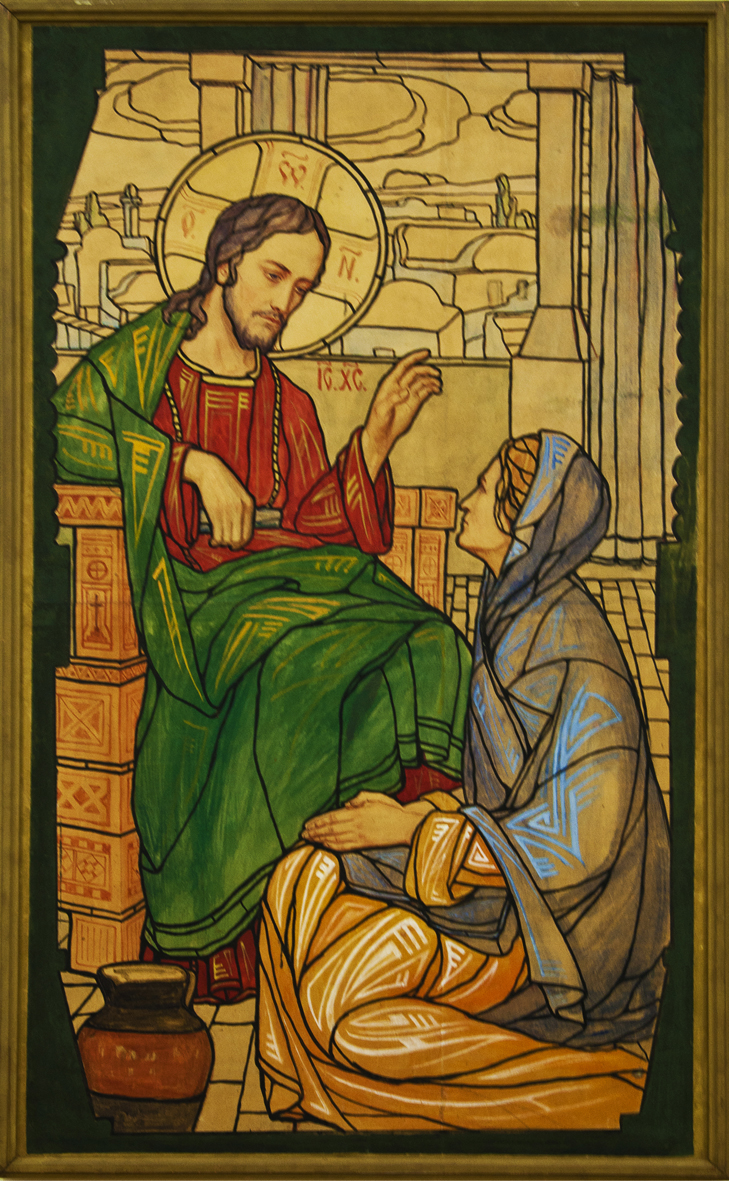 Модест Сосенко. Христос і самаритянка, 1907; акварель, туш, папір, НМЛ