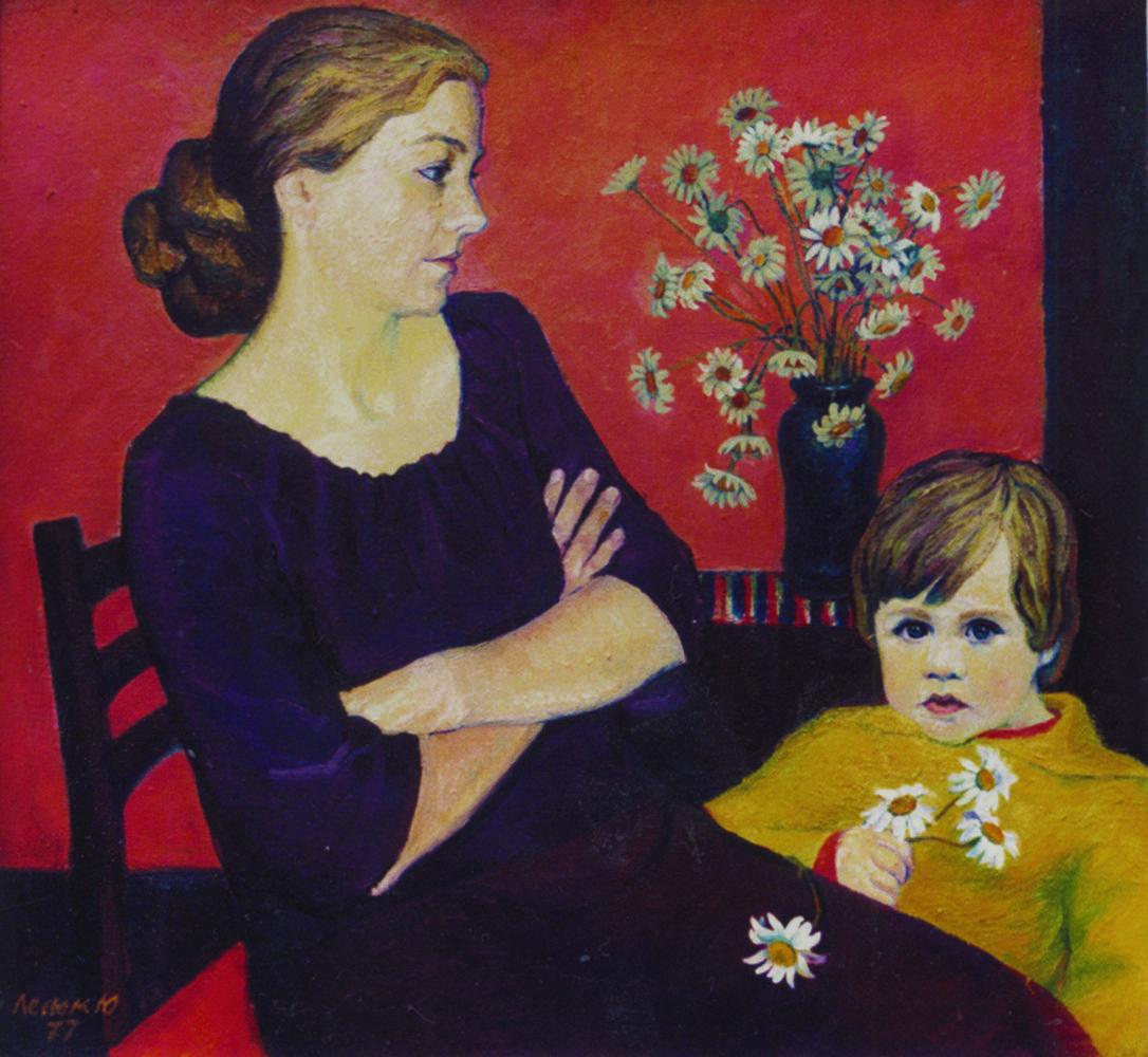 Юрій Лесюк. Дружина і син, 1977; полотно, олія; 75-80