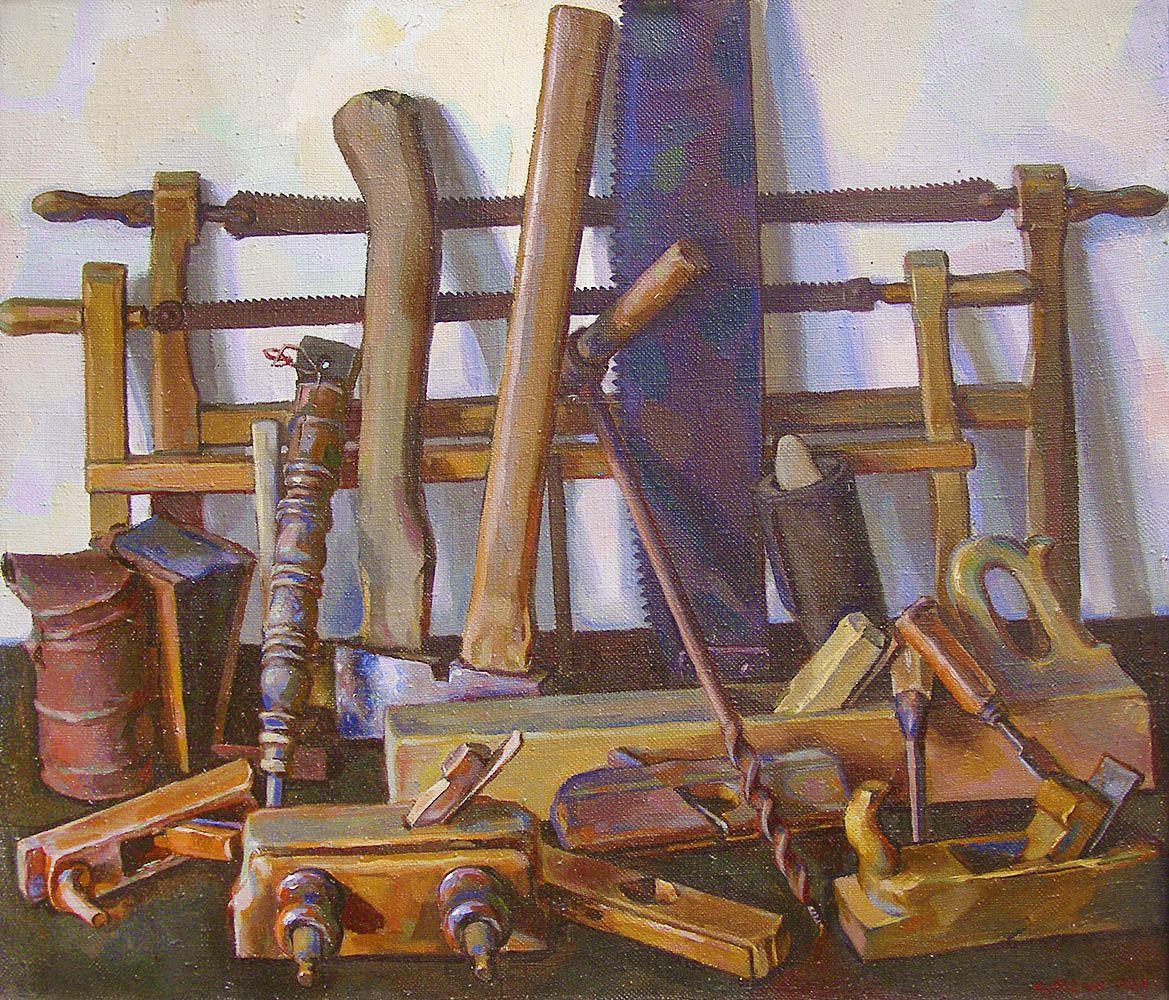 Юрій Лесюк. Татові речі, 1999; полотно, олія; 59-70