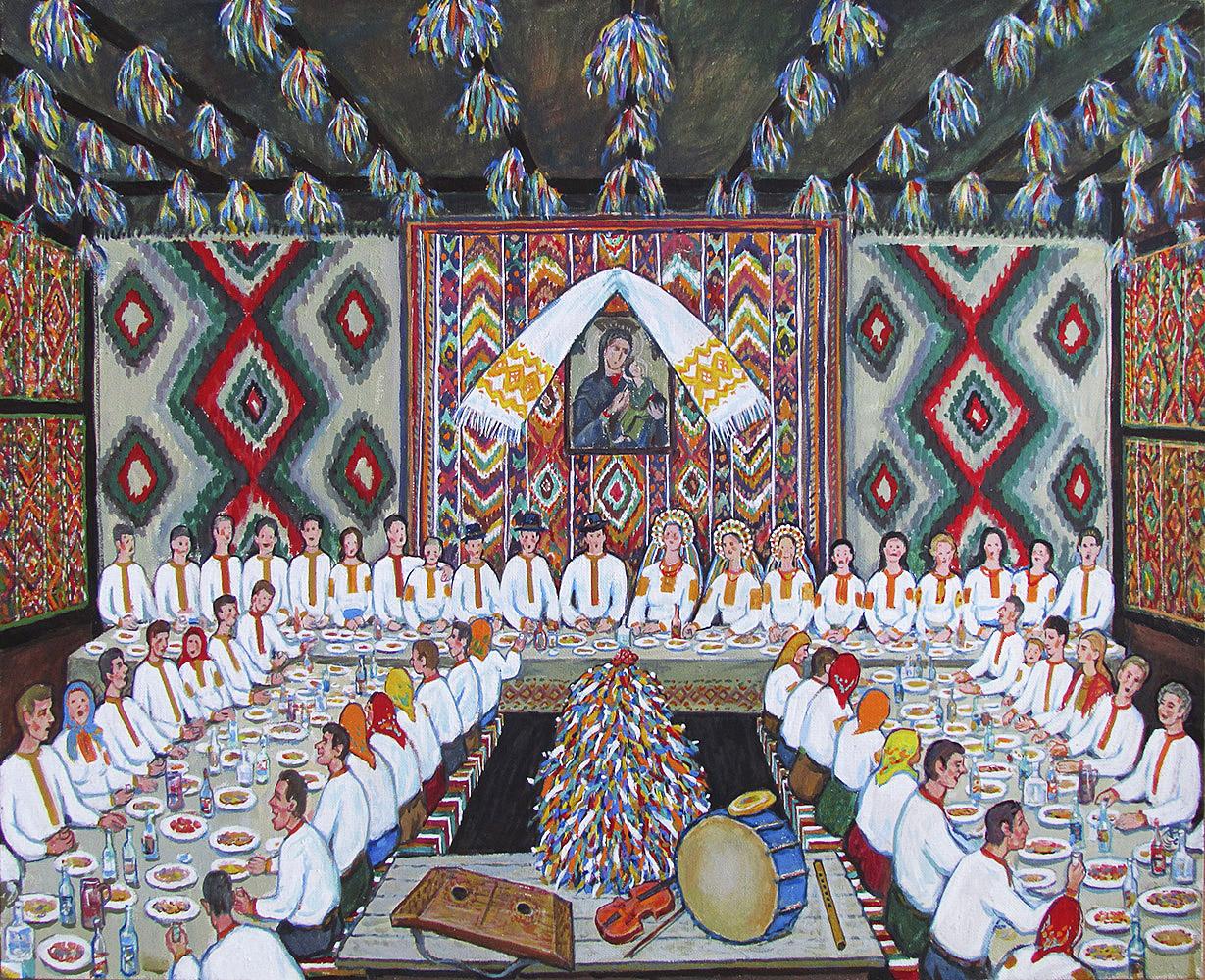 Юрій Лесюк. Весілля в Ковалівці, 2014; папір, акрил; 90-110