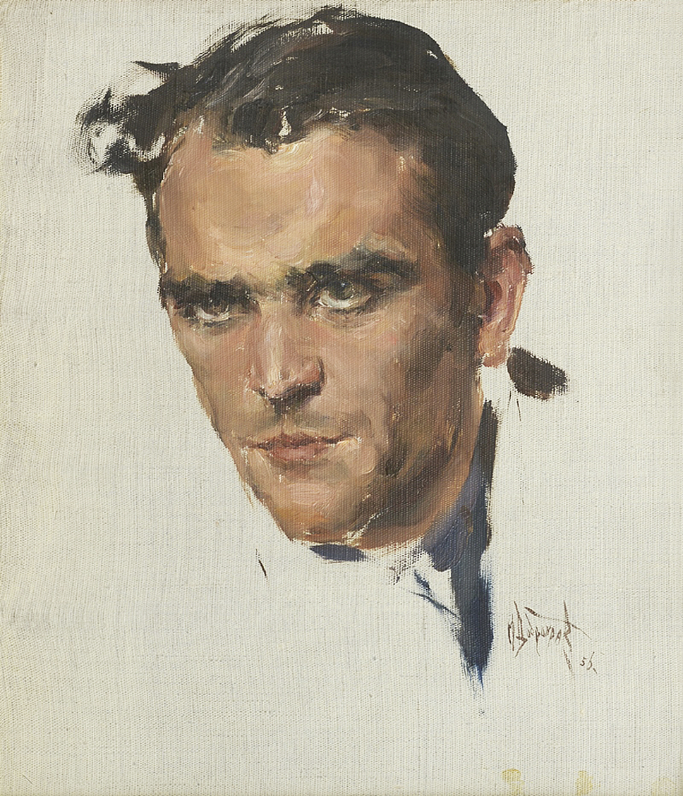 Михайло Добронравов. Брюнет, 1956; полотно, картон, олія