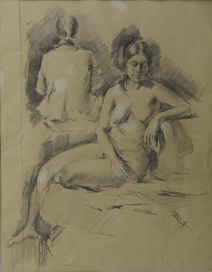Михайло Добронравов. Дві фігури, 1971; папір, олівець