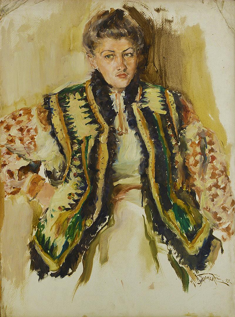 Михайло Добронравов. Гуцулка, 1949; картон, олія