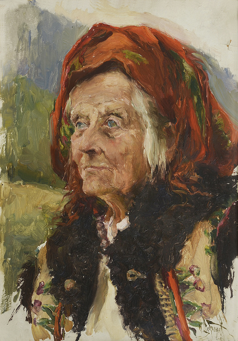 Михайло Добронравов. Гуцулка Сохниха, 1954; картон, олія