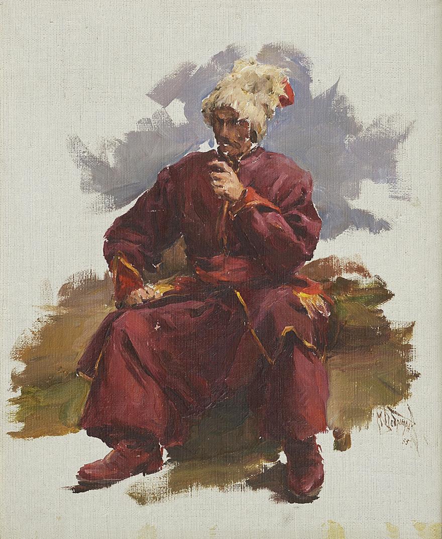 Михайло Добронравов. Козак з люлькою, 1955; полотно, картон, олія