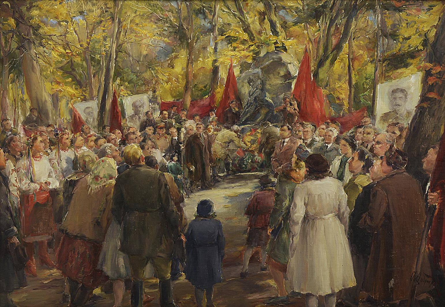 Михайло Добронравов. Вінок на могилу Івана Франка, 1950; полотно, картон, олія
