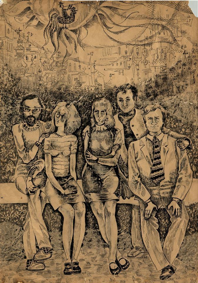 Катерина Суєвалова. Після Прибалтики (зліва направо: О. Аксінін, Н. Пономаренко, К. Суєвалова, В. Суєвалов, Б. Пікулицький), 1972; туш, папір