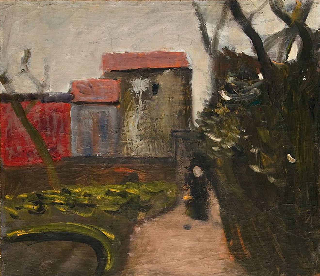 Артур Нахт-Самборський. Будинок і дерево, 1940-ві; олія, полотно