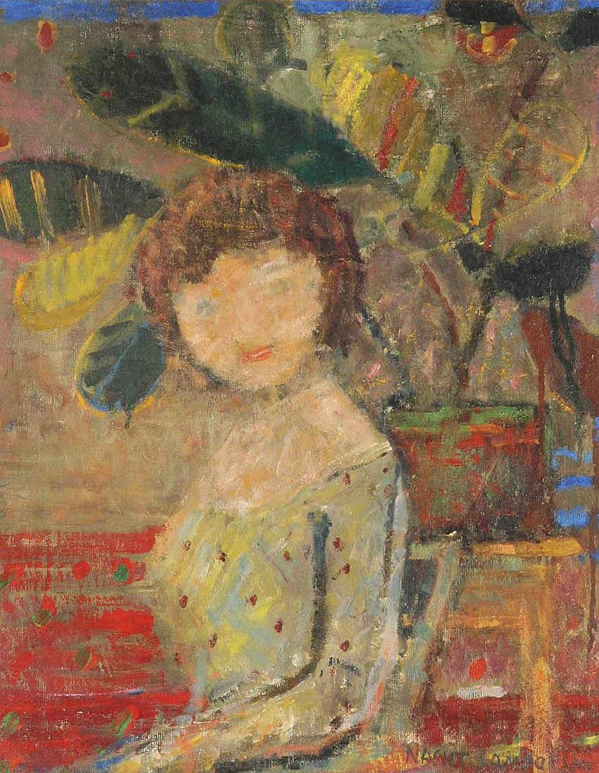 Артур Нахт-Самборський. Дівчина серед фікусів 1958; олія, полотно