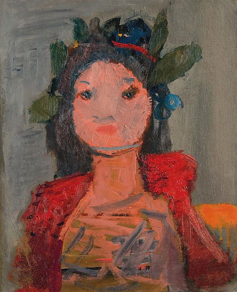 Артур Нахт-Самборський. Дівчина з вінком 1956; олія, полотно; NMP