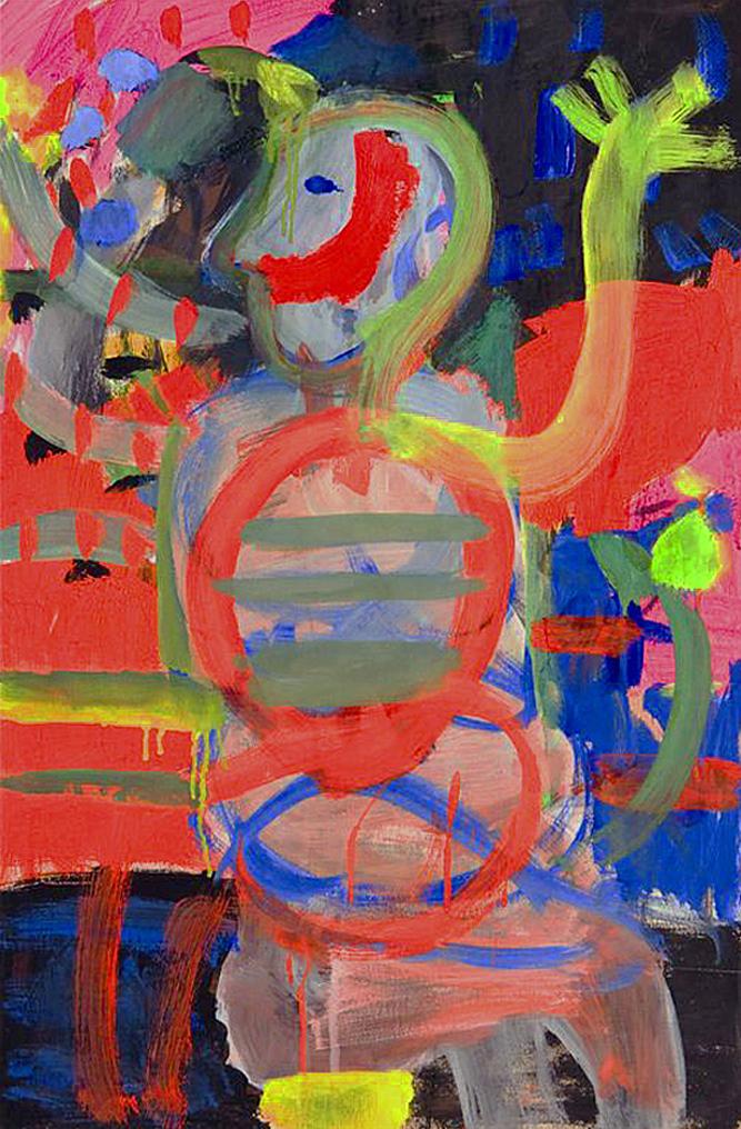 Артур Нахт-Самборський. Клоун на червоному тлі, 1960-ті; папір, гуаш