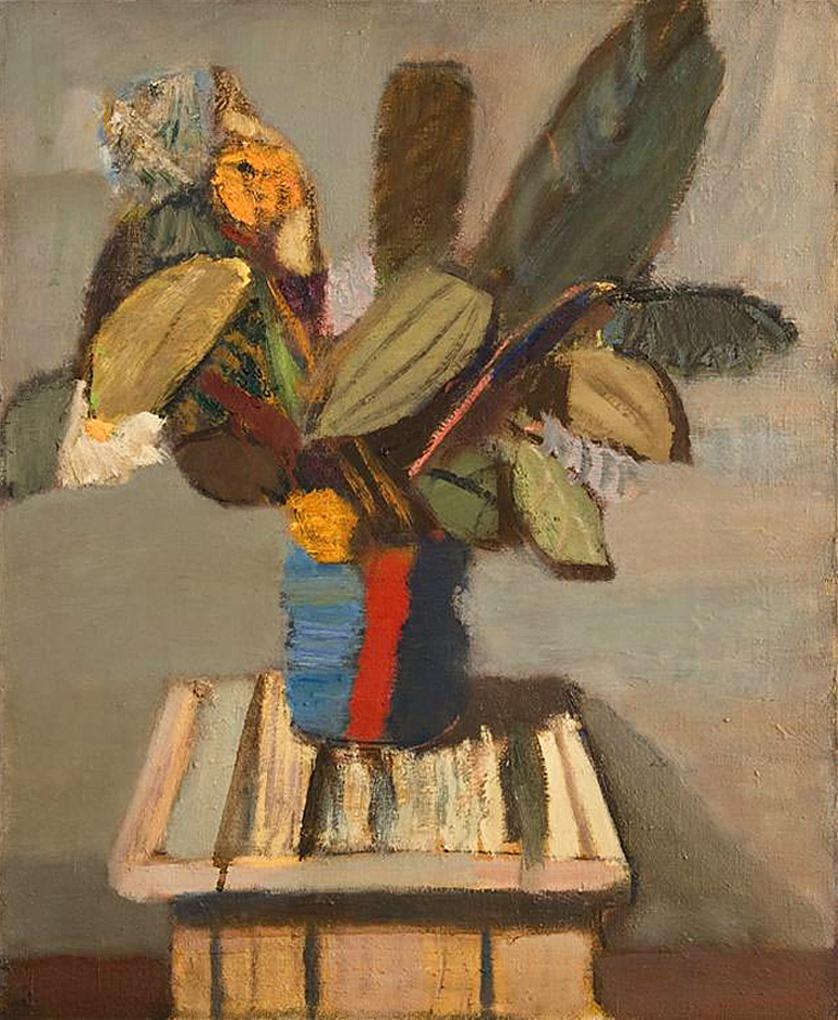 Артур Нахт-Самборський. Листя фікуса в смугастій вазі, 1955; олія, полотно