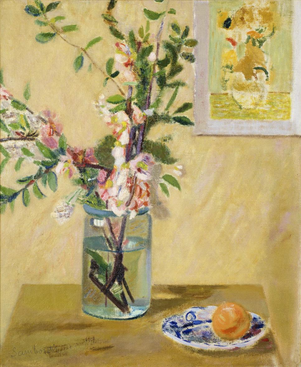 Артур Нахт-Самборський. Натюрморт з квітами у вазоні, 1950; олія, полотно