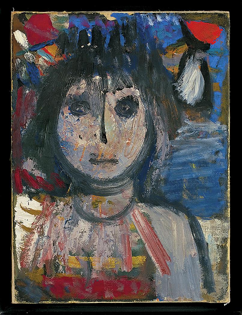 Артур Нахт-Самборський. Портрет з червоною плямою на тлі, 1960; папір, холст, олія
