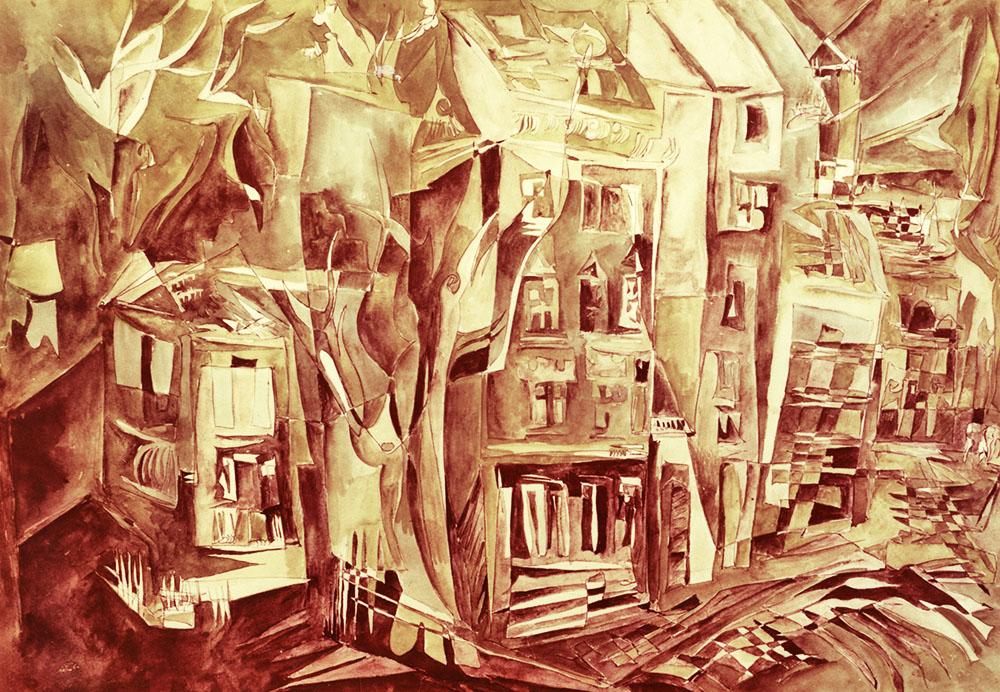Христина Абрагамовська. Вулиці Львова, 1988; картон, темпера