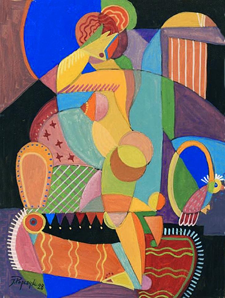 Юзеф Попчик. Жінка та птаха, 1928; папір, акварель