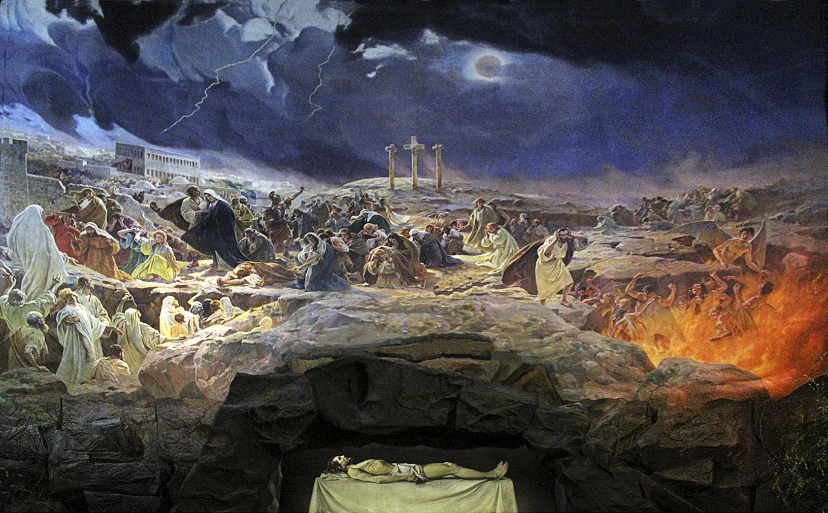 Тадеуш Попель. Голгофа, 1907; олія, полотно; для костелу Бернандинів у Львові, тепер у Кракові