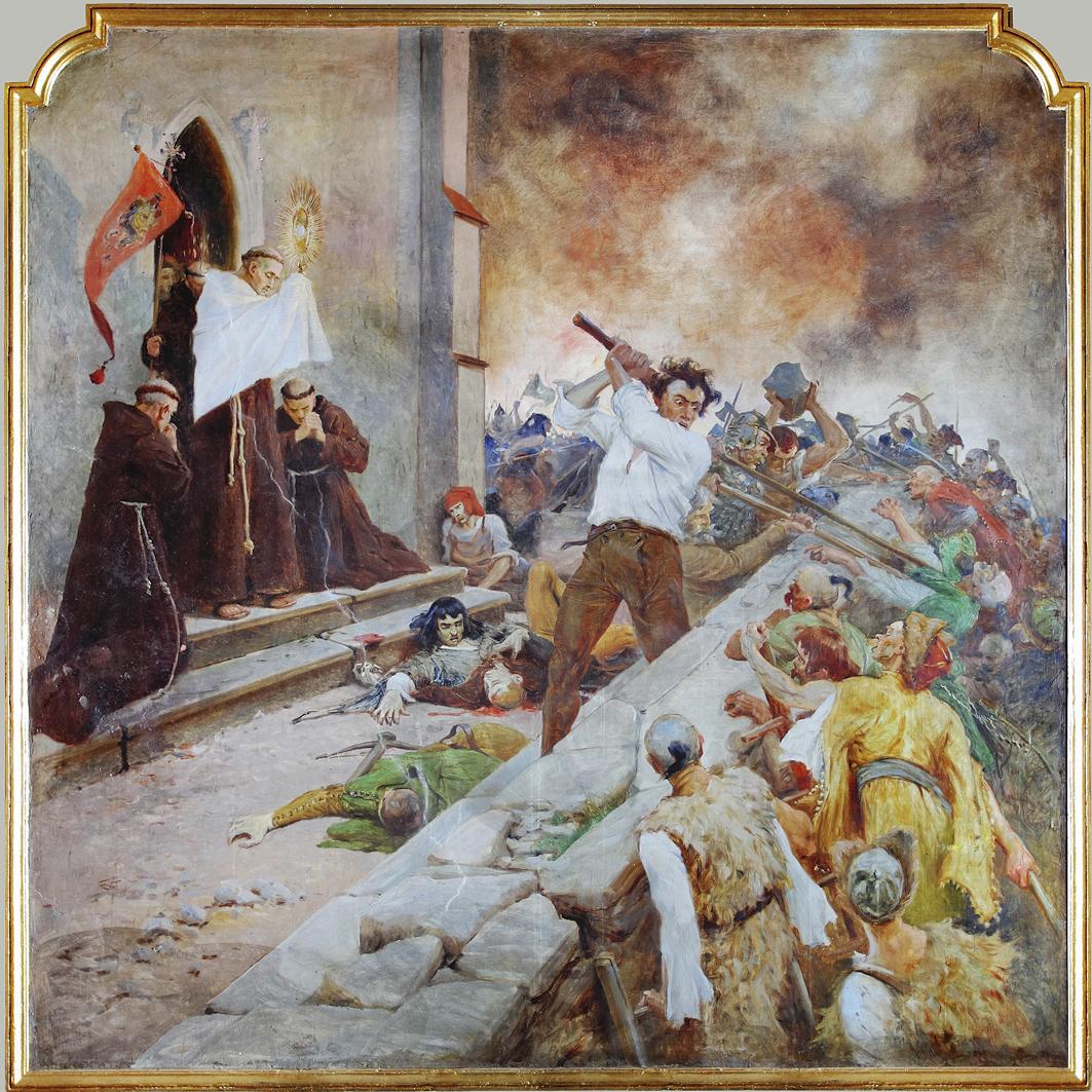 Тадеуш Попель. Ян з Дуклі благословляє захисників Львова від татар 1473, храм в Дуклі