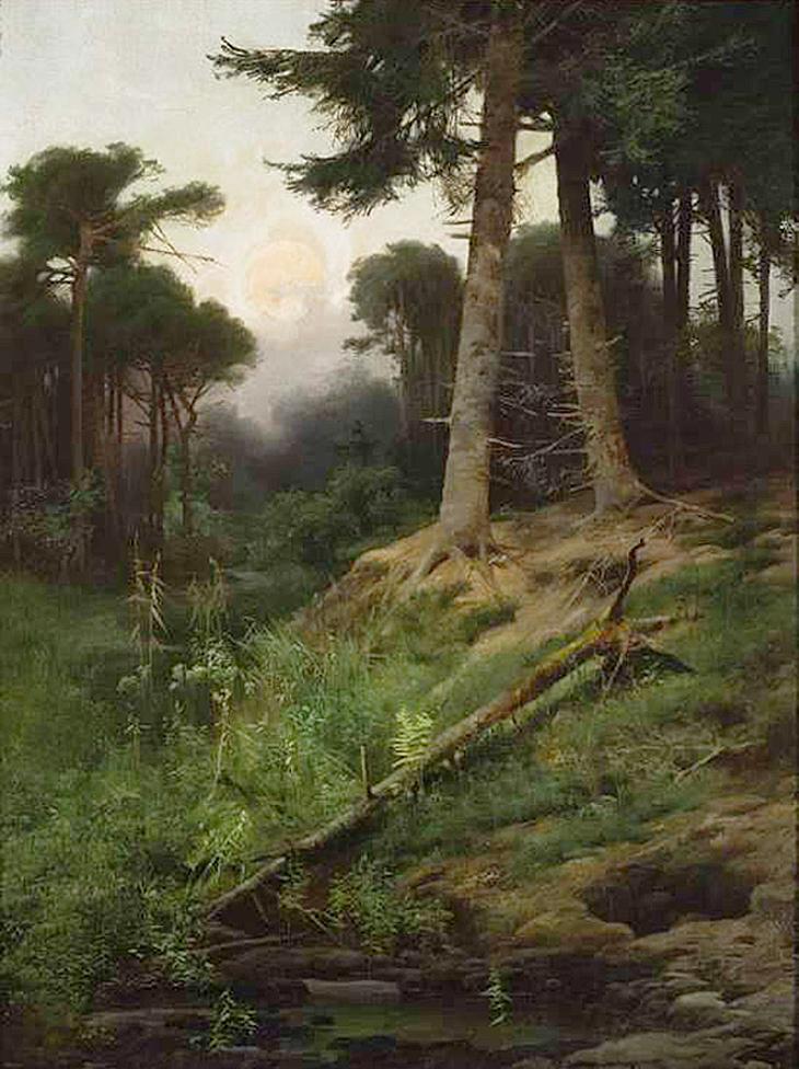 Тадеуш Попель. Схід сонця в лісі, 1890-ті; олія, полотно; NMW