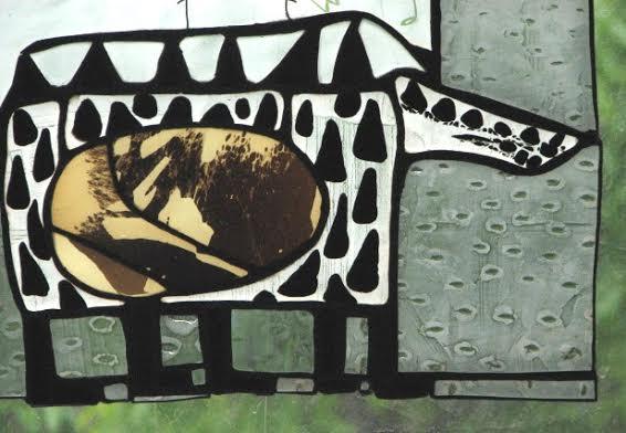 Роксолана Худоба. Тварини зі сну(фрагмент), 2009. Скло, вітраж.