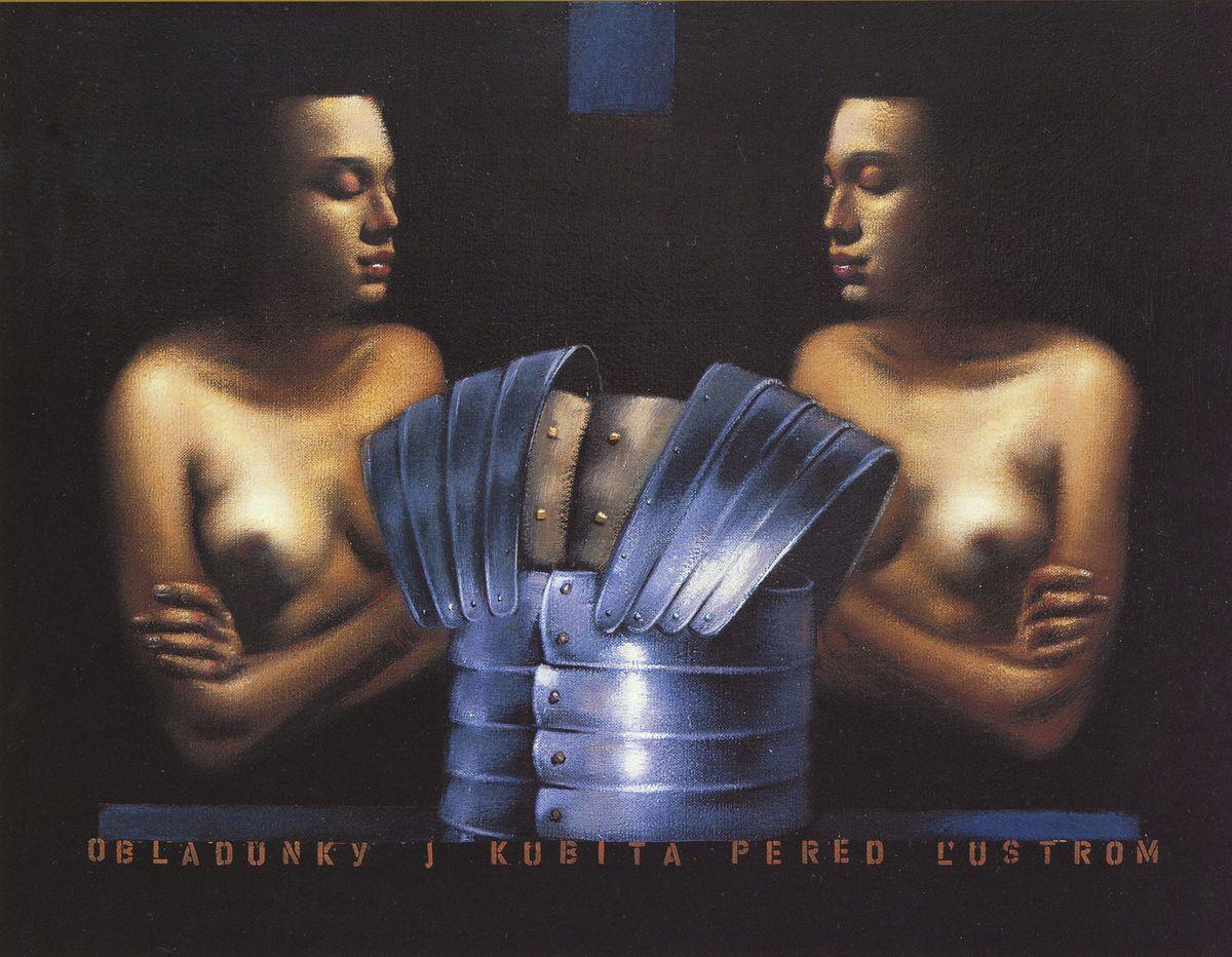 Володимир Костирко. Обладунки і жінка перед дзеркалом, 2002