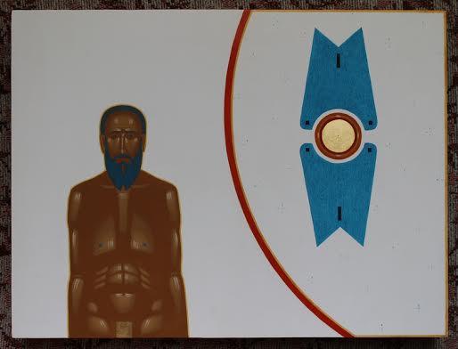 Данило Мовчан. Чоловік та херувим, 2013. Дошка, левкас, жовткова темпера, золото