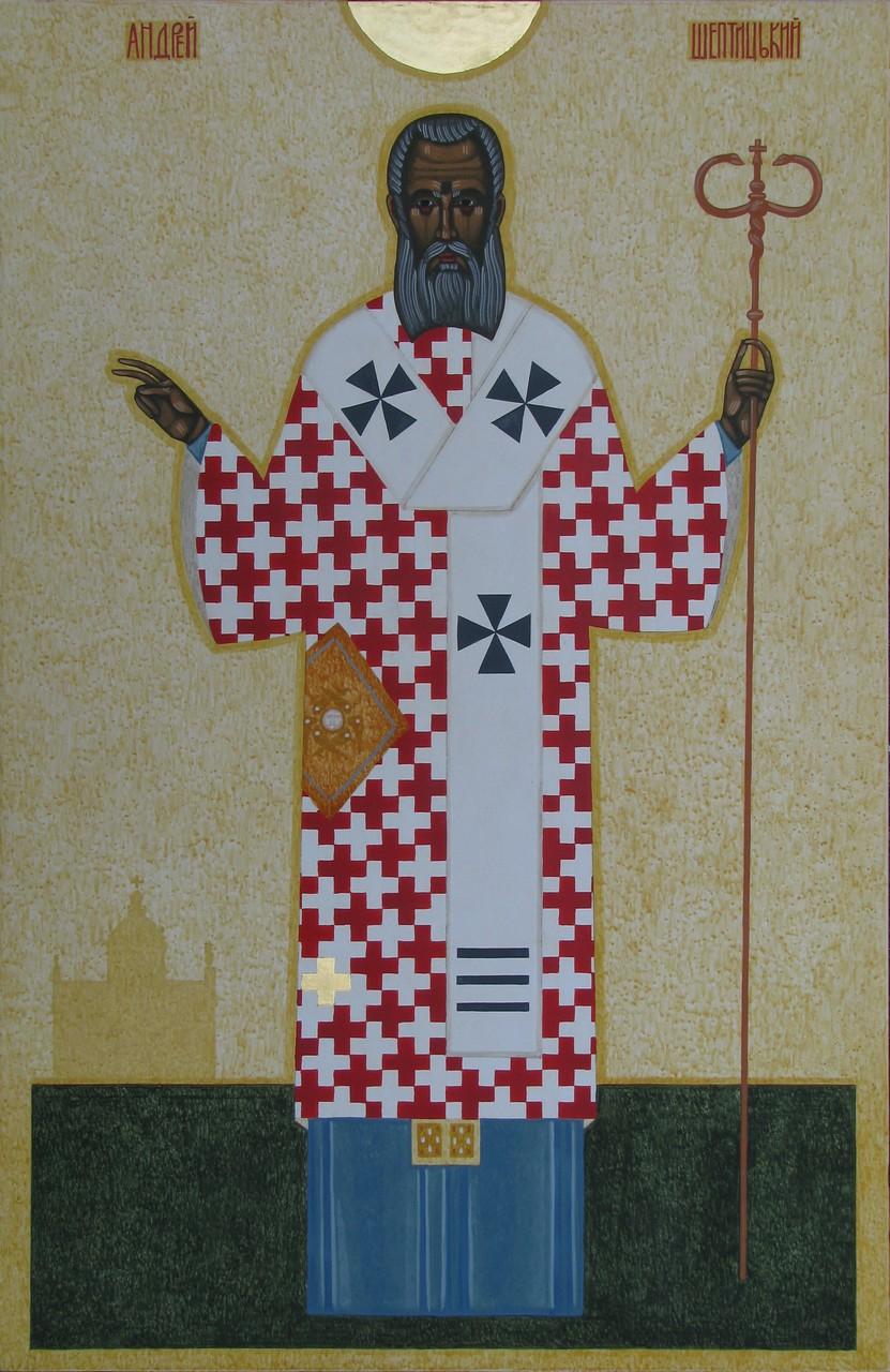 Данило Мовчан. Андрей Шептицький, 2010. Дошка, левкас, жовткова темпера, золото